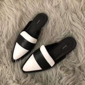 Forever 21 Black and White Backless Loafer Mules